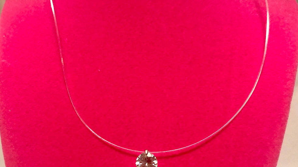 ⭐️.925 Silver Clear line 8mm Zircon necklace