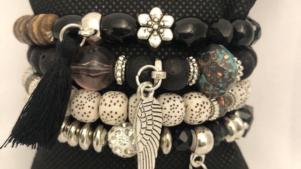 4 piece Black & Silver Angel Bead Set