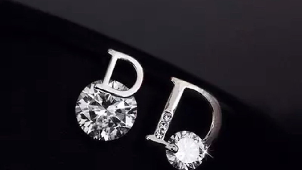 "Silver D ""Dior"" style cubic zirconia earrings"