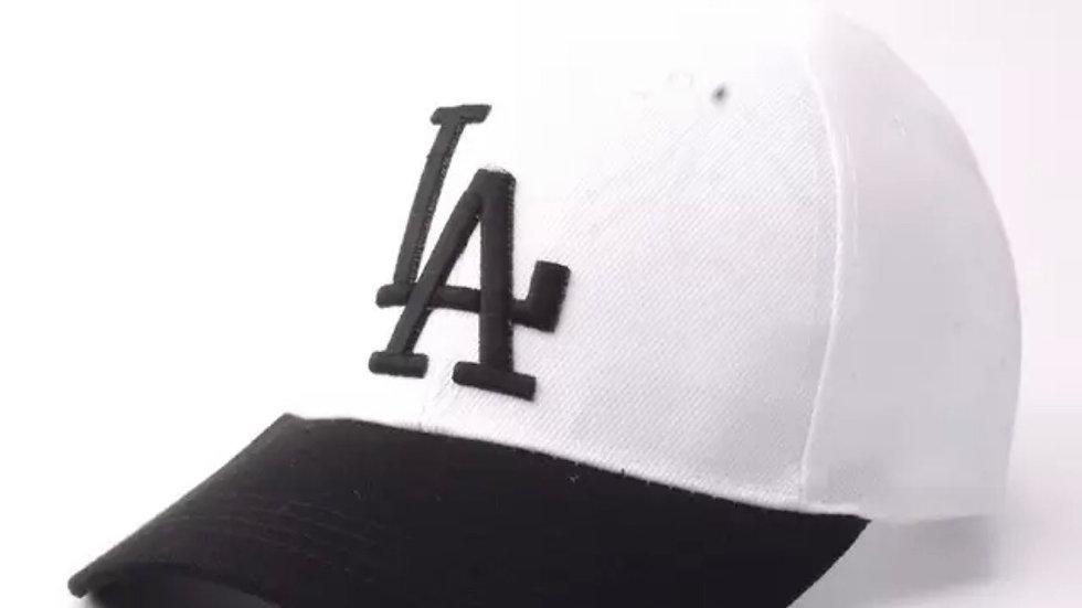 Unisex White & Black La Dodgers baseball hat