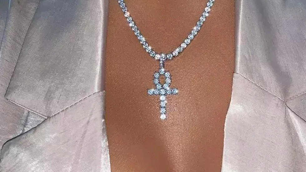 African Ankh Cubic Zirconia Necklace