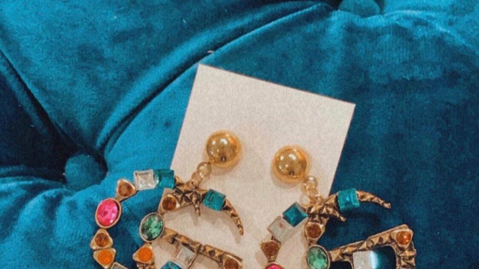 GG GOLD & rhinestone earrings