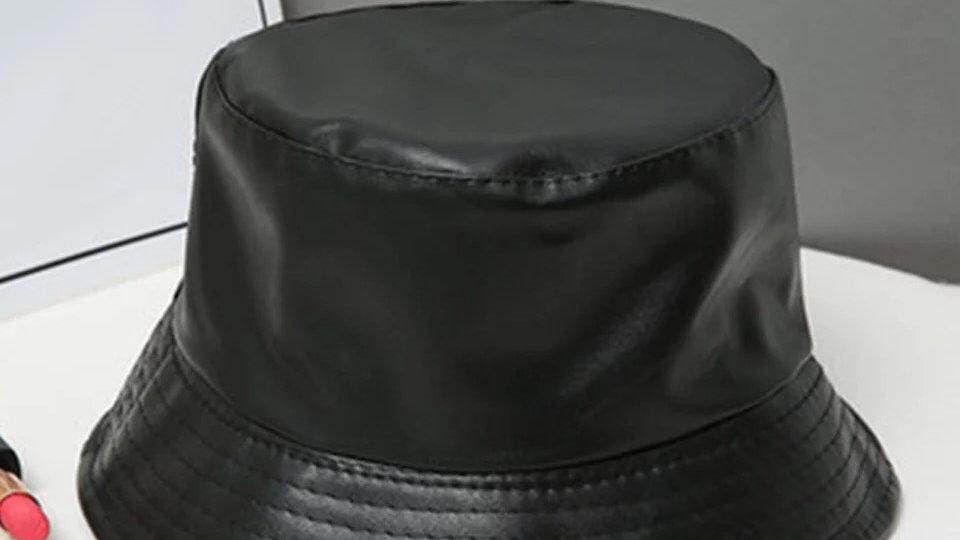 Unisex faux leather bucket hat