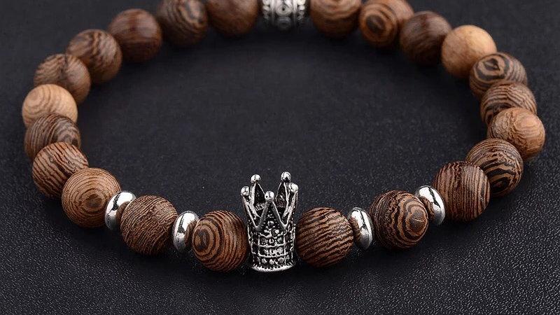 Unisex Natural Wooden Bead Bracelet