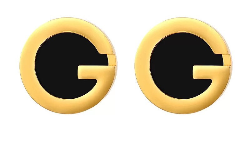Black & Gold G stud earrings