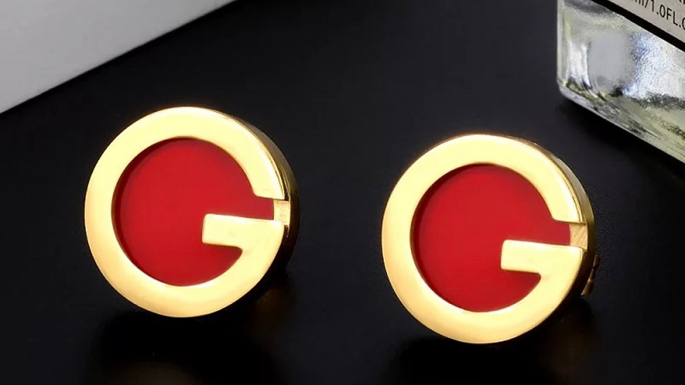 Red & Gold GG stud earrings