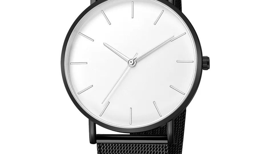 Black & white quartz watch
