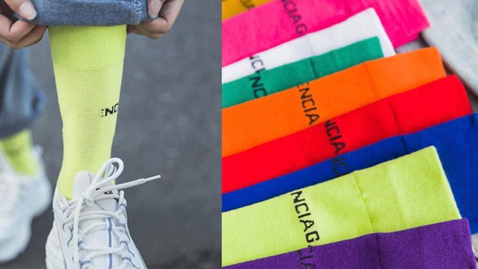 HOT PINK  1 pair  *Balenciaga* Designer Socks