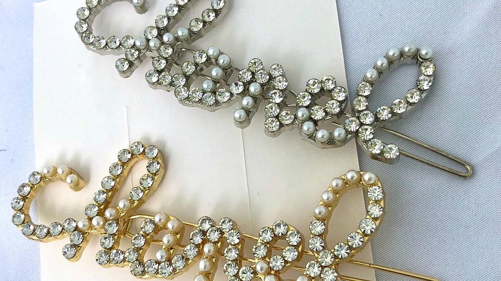 Silver Crystal designer hair pin