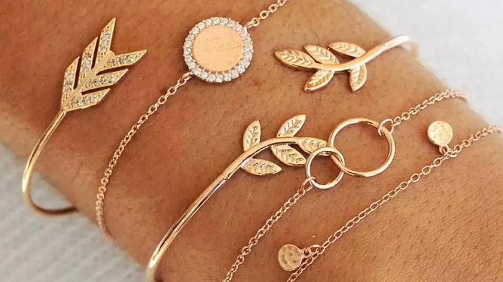 Gold 5 piece Bohemian Vintage bracelet set