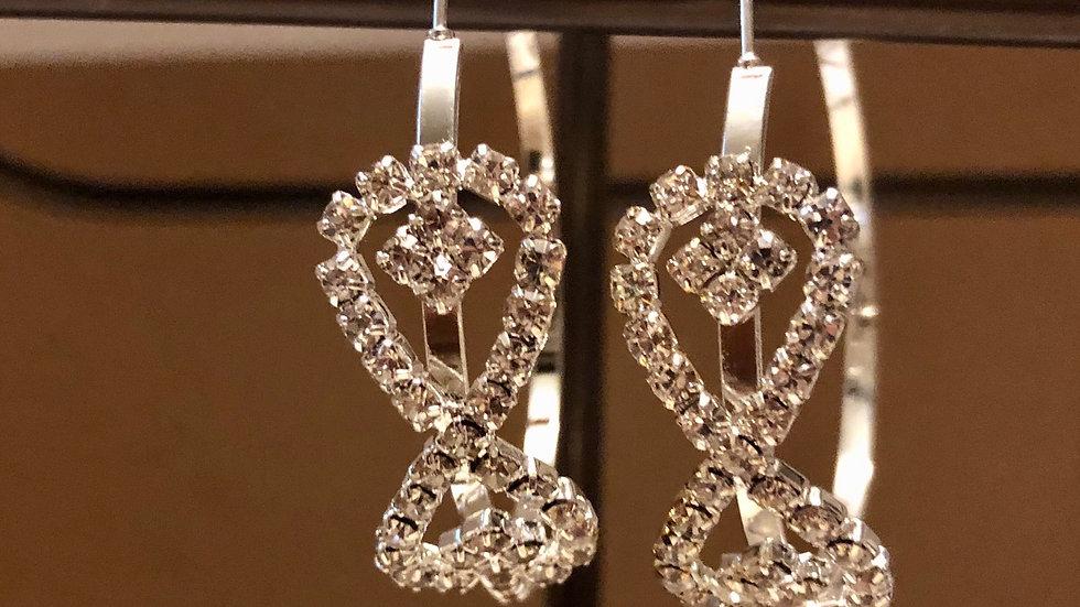 Silver crystal ribbon hoop earrings