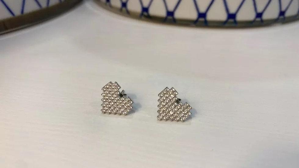 .925  Silver Heart Cubic Zirconia Stud Earring