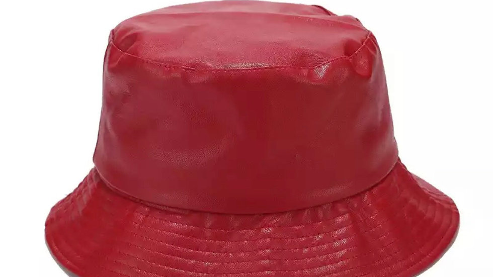Red PU leather bucket hat
