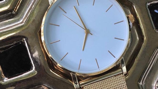 Gold & White quartz watch