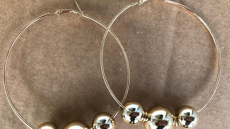 Tri Gold Medium hoop earrings