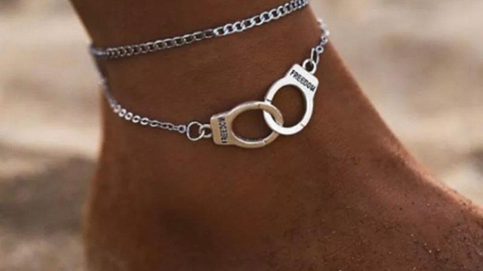 Circles Double chain Ankle bracelet