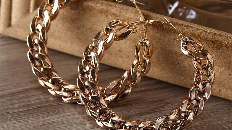 Gold Medium Size Cuban link hoop earrings