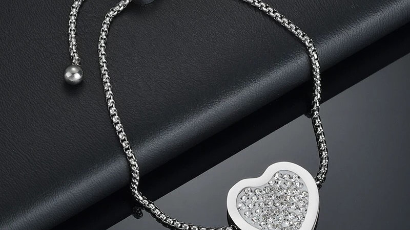 Stainless steel Crystal heart bracelet