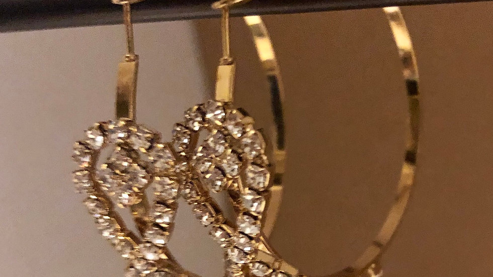 Gold Crystal Ribbon Hoop Earrings