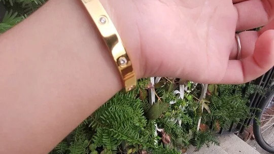 Gold Cartier style titanium steel bracelet