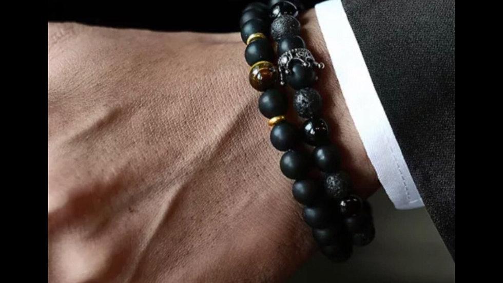 2 Piece Black Wood Lava Crown Bead Set