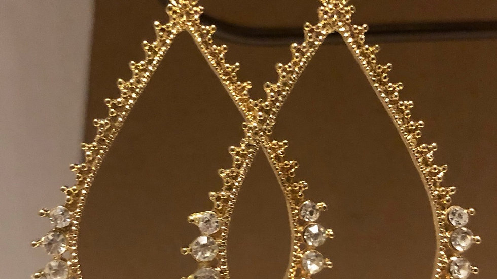 Gold & Crystal Pearl Shaped Earrings