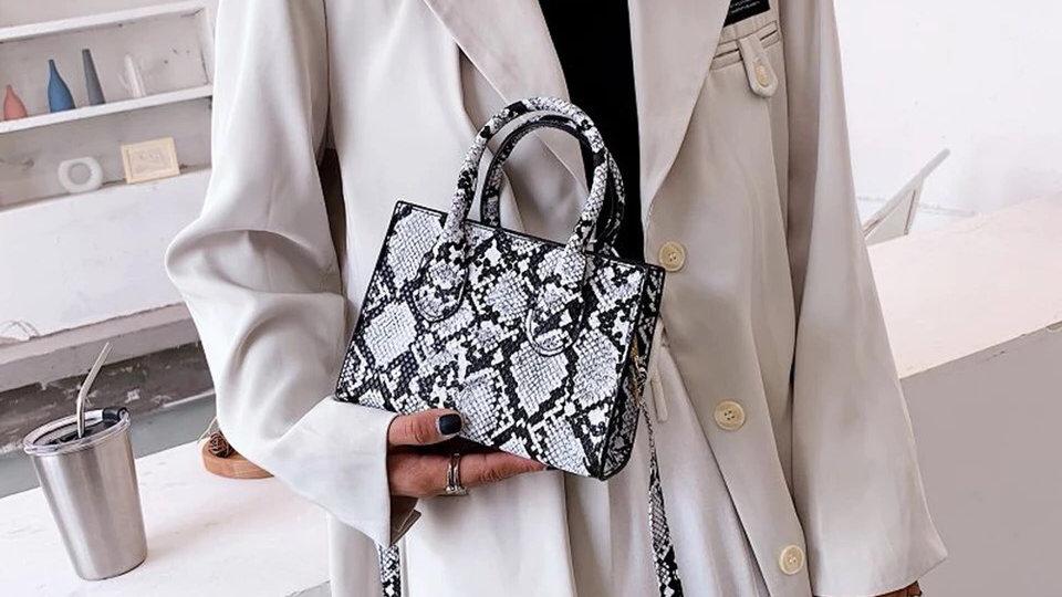 White snake print mini Pu leather handbag