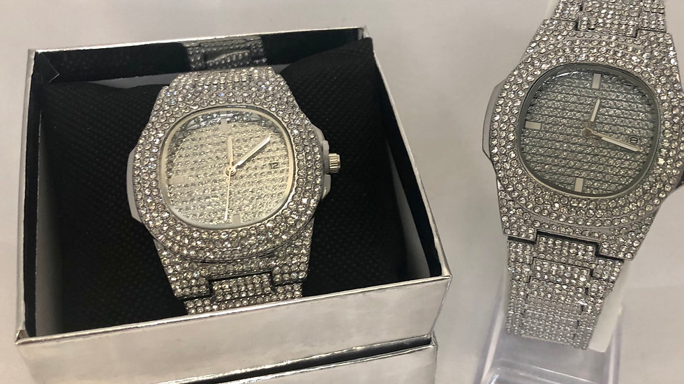 Diamond Studded Women Stainless Steel Watch