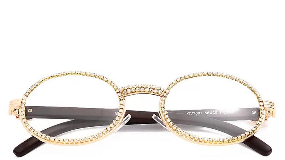 Unisex Gold cubic zirconia glasses