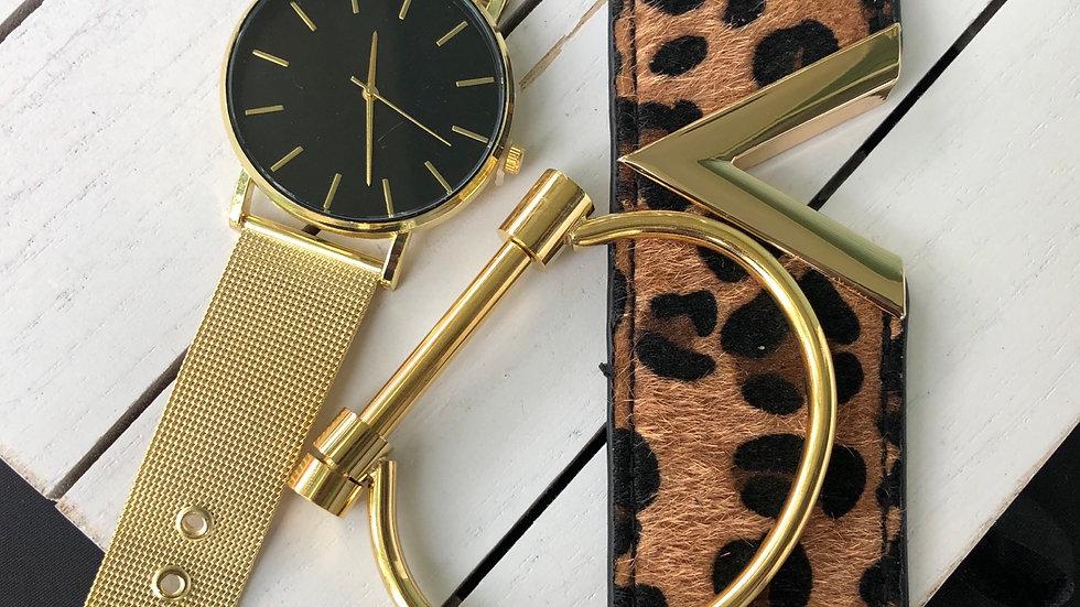 Black & Gold quartz watch