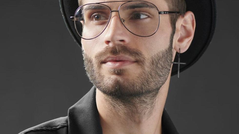Unisex Black Aviator Glasses
