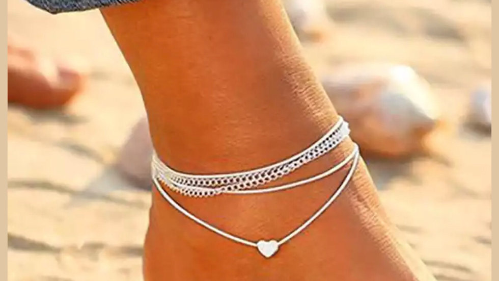 Silver  & white heart anklet
