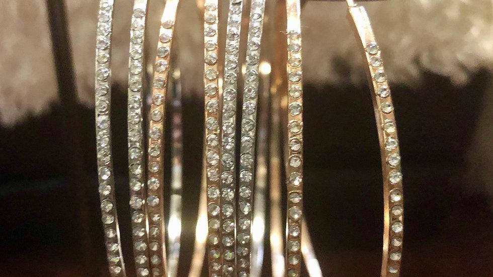 Gold Medium Diamond Hoop Earrings