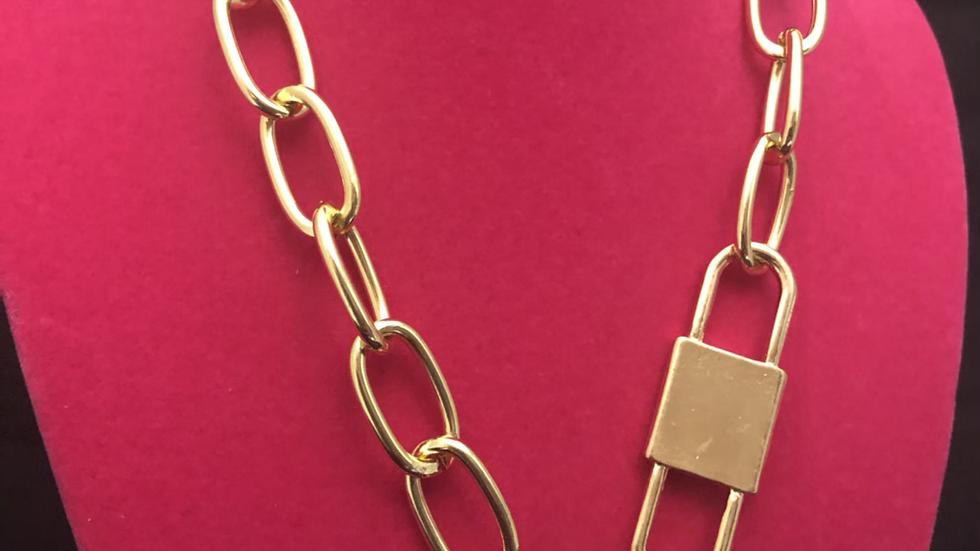Gold Lock 🔒 &  loaded  choker necklace
