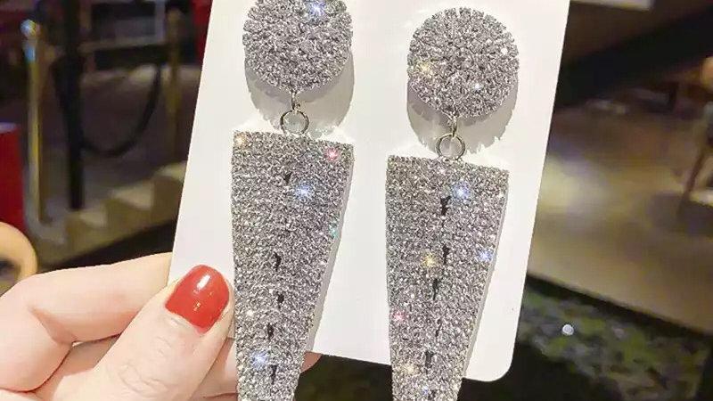 Silver & crystal triangle earrings