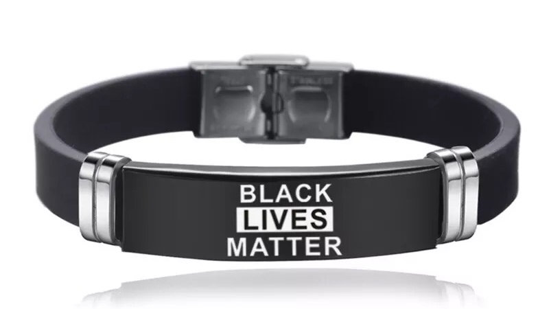 BLM Black Stainless Steel Adjustable Wristband Bracelets