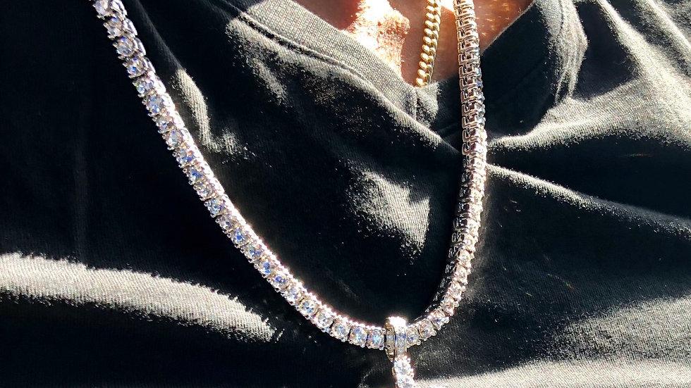 Unisex  24 inch Cubic zirconia 4mm Silver tennis necklace