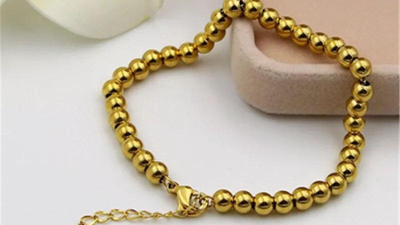 Gold titanium steel beaded bracelet