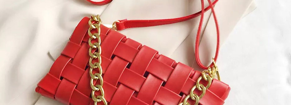 Red Woven Chunky Gold Strap Handbag