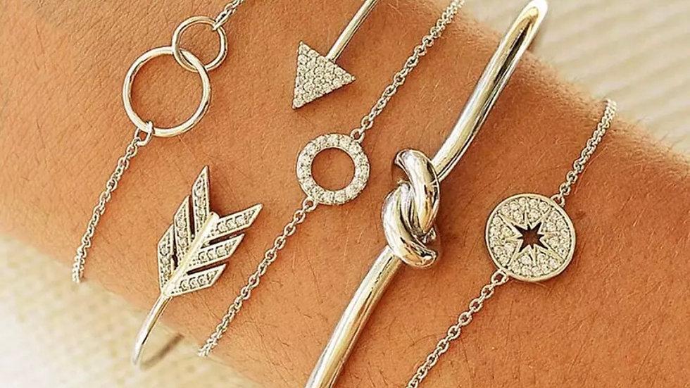 Silver 5 piece Bohemian Vintage Bracelet Set