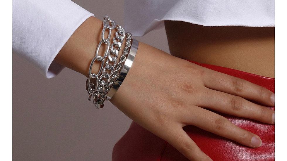 Silver 4 piece charming bracelet set
