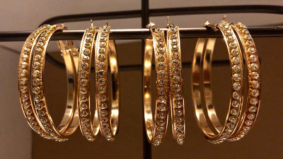 Medium Size Gold Crystal Hoops