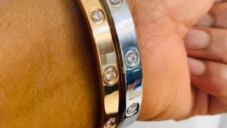 Silver Cartier style  titanium steel bracelet