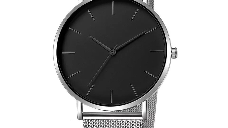 Silver & Black Quartz watch
