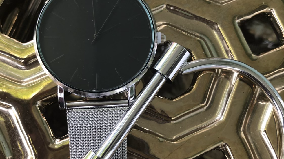 Silver & Black Quartz watch