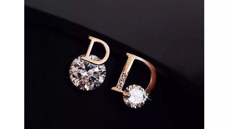 """Gold D """"Dior"""" style cubic zirconia earrings"""