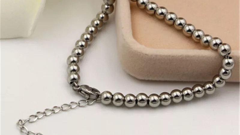 Silver Titanium steel beaded bracelet