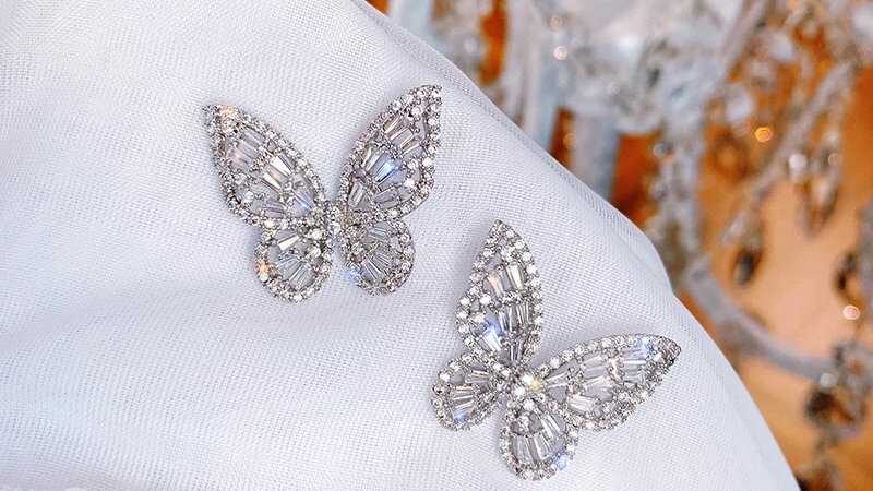 Cubic Zirconia Butterfly Stud 🦋  Earrings
