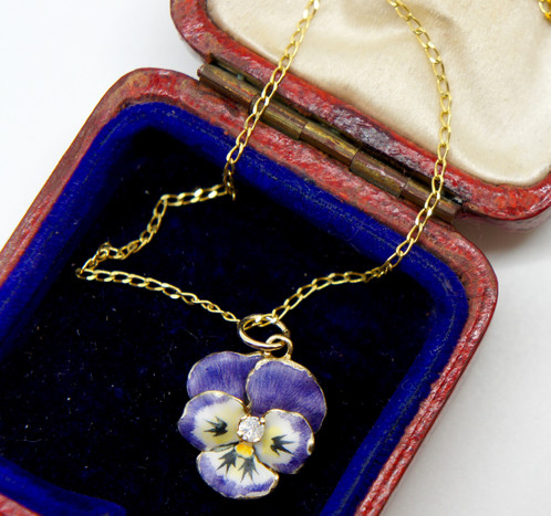 Enamel pansy pendant with diamond pendant which such detailed enamelling you would be excused for mistaking it for the real thing the word pansy comes from the french pense meaning aloadofball Choice Image