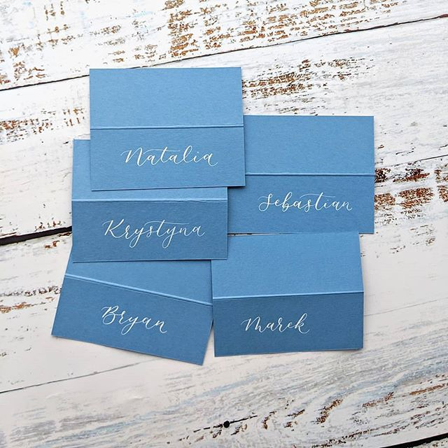 white-calligraphy-blue-place-cards-london-wedding